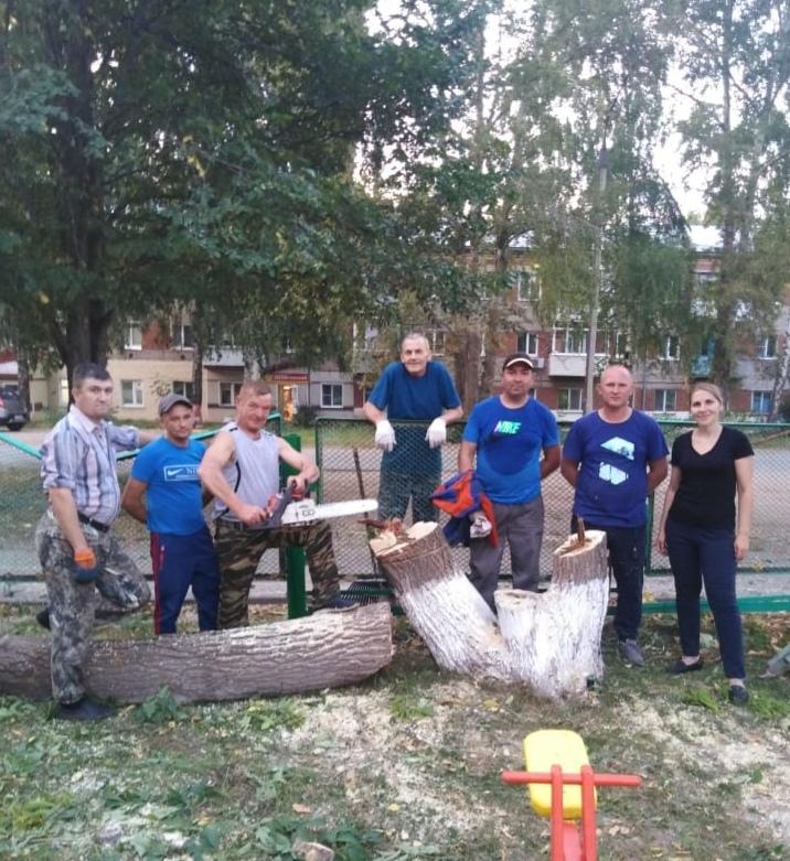 В детском саду № 18 прошел субботник по спиливанию старых деревьев (кленов)
